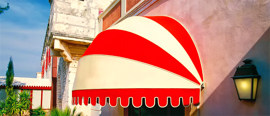 Tenda da sole a cappottina rond per finestre e porte ad arco