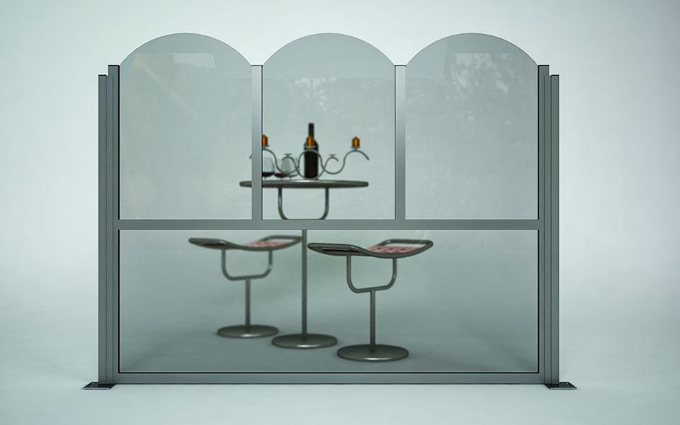 Paravento modulare per esterno in alluminio e vetro mod. Classic con vetro tondo - Stameat srl - Produzione ed installazione - Padova