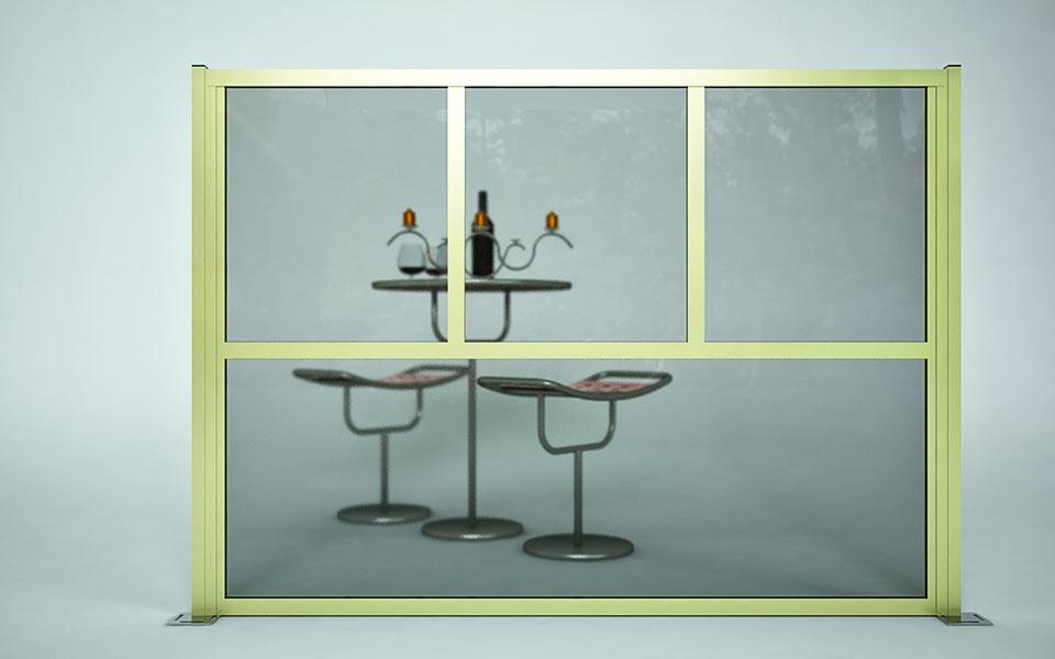 Paravento modulare per dehors e plateatici in alluminio mod. GL Quadro con  pannelli vetrati - Stameat srl - Produzione ed installazione - Trieste
