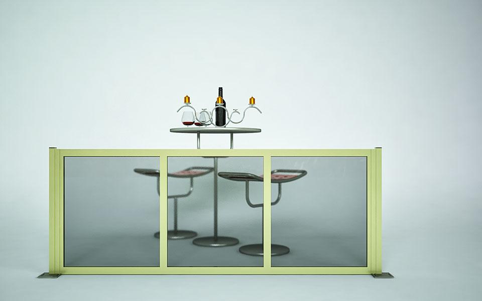 Paravento modulare per esterno in alluminio mod. GL PARAPETTO con pannello vetrato - Stameat srl - Produzione ed installazione - Belluno - 1