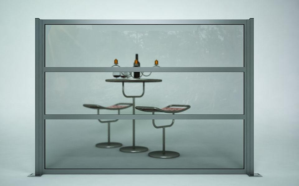 Paravento modulare per esterno in alluminio mod. NEWTEC con pannello vetrato antiinfortunistico - Stameat srl - Produzione ed installazione - Verona