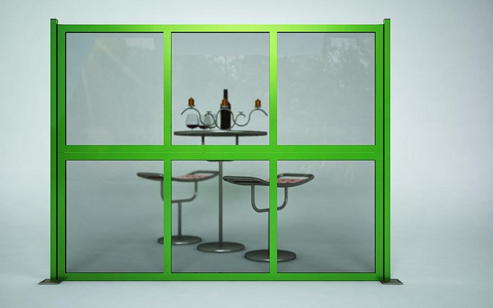 Applicazione particolare Paravento modulare per esterno in alluminio e vetro mod. Quadro Summer- Stameat srl - Produzione ed installazione - Brescia - 1