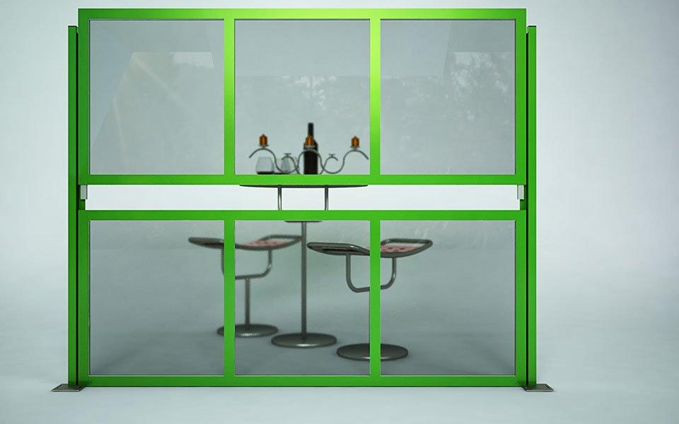 Applicazione particolare Paravento modulare per esterno in alluminio e vetro mod. Quadro Summer- Stameat srl - Produzione ed installazione - Brescia - 2