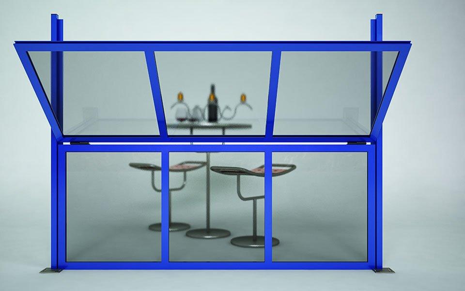 Applicazione particolare Paravento modulare per esterno in alluminio e vetro mod. Quadro Revo- Stameat srl - Produzione ed installazione - Bolzano - 2
