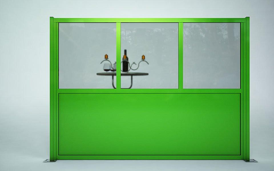 Paravento modulare per esterno in alluminio e vetro mod. Quadro con vetro e pannello coibentato - Stameat srl - Produzione ed installazione - Treviso