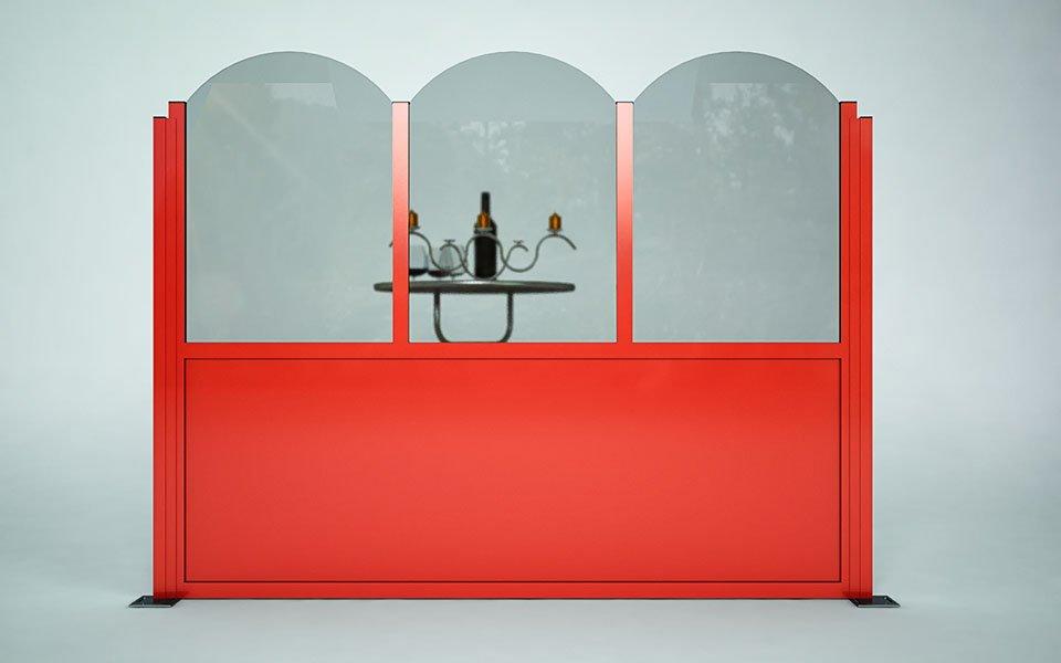 Paravento modulare per dehors e plateatici in alluminio e vetro mod. Rond con vetro tondo e pannello coibentato inferiore - Stameat srl - Produzione ed installazione - Rovigo