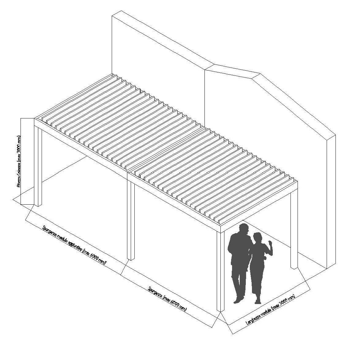 Pergola-bioclimatica-frangisole-addossato-parete-pale-perpendicolari-modulo-addossato-aggiuntivo-Stameat-Bolzano