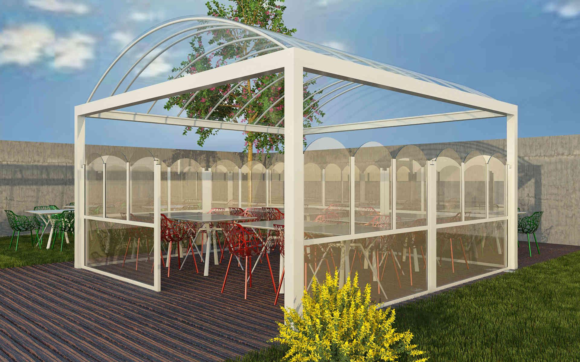 Paravento modulare per esterno in alluminio e vetro mod. Classic - Stameat srl - Produzione ed installazione - Padova
