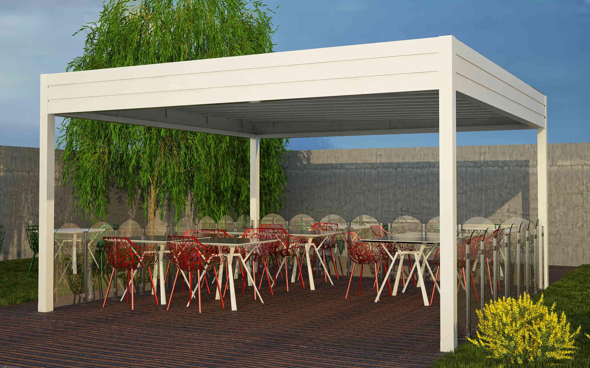 Paraventi modulari per esterno in alluminio. Chiusura di dehors e plateatici. Serie 3000. Stameat srl - Padova