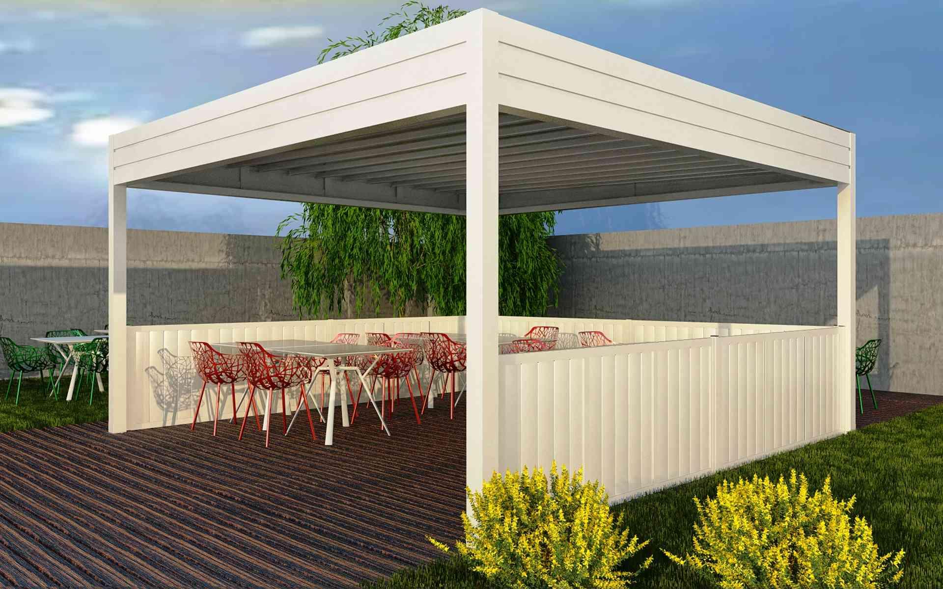 Paravento modulare per esterno in alluminio mod. GL PARAPETTO - RUSTICO con doghe - Stameat srl - Produzione ed installazione - Asiago