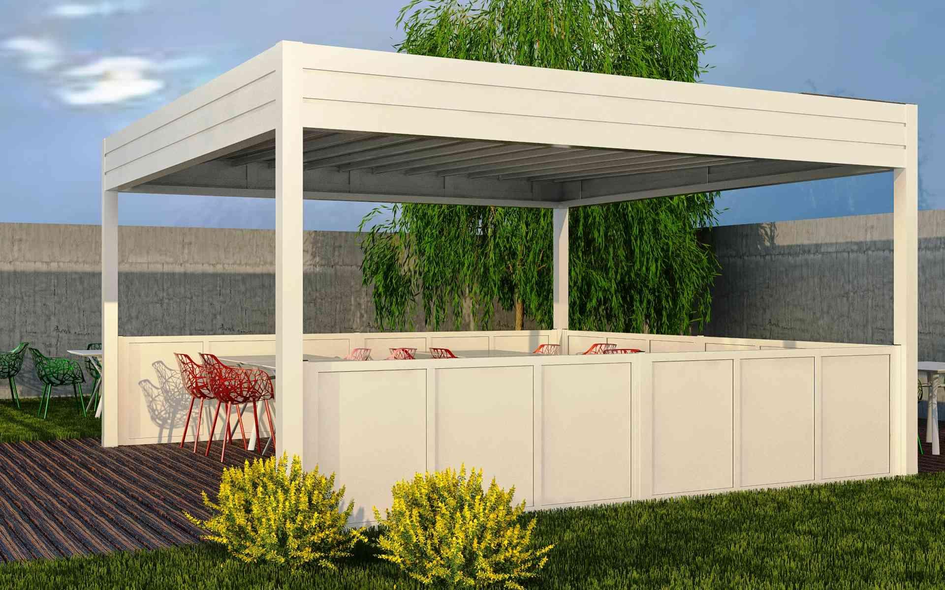 Paravento modulare per esterno in alluminio mod. GL PARAPETTO - ALU con pannello coibentato - Stameat srl - Produzione ed installazione - Jesolo