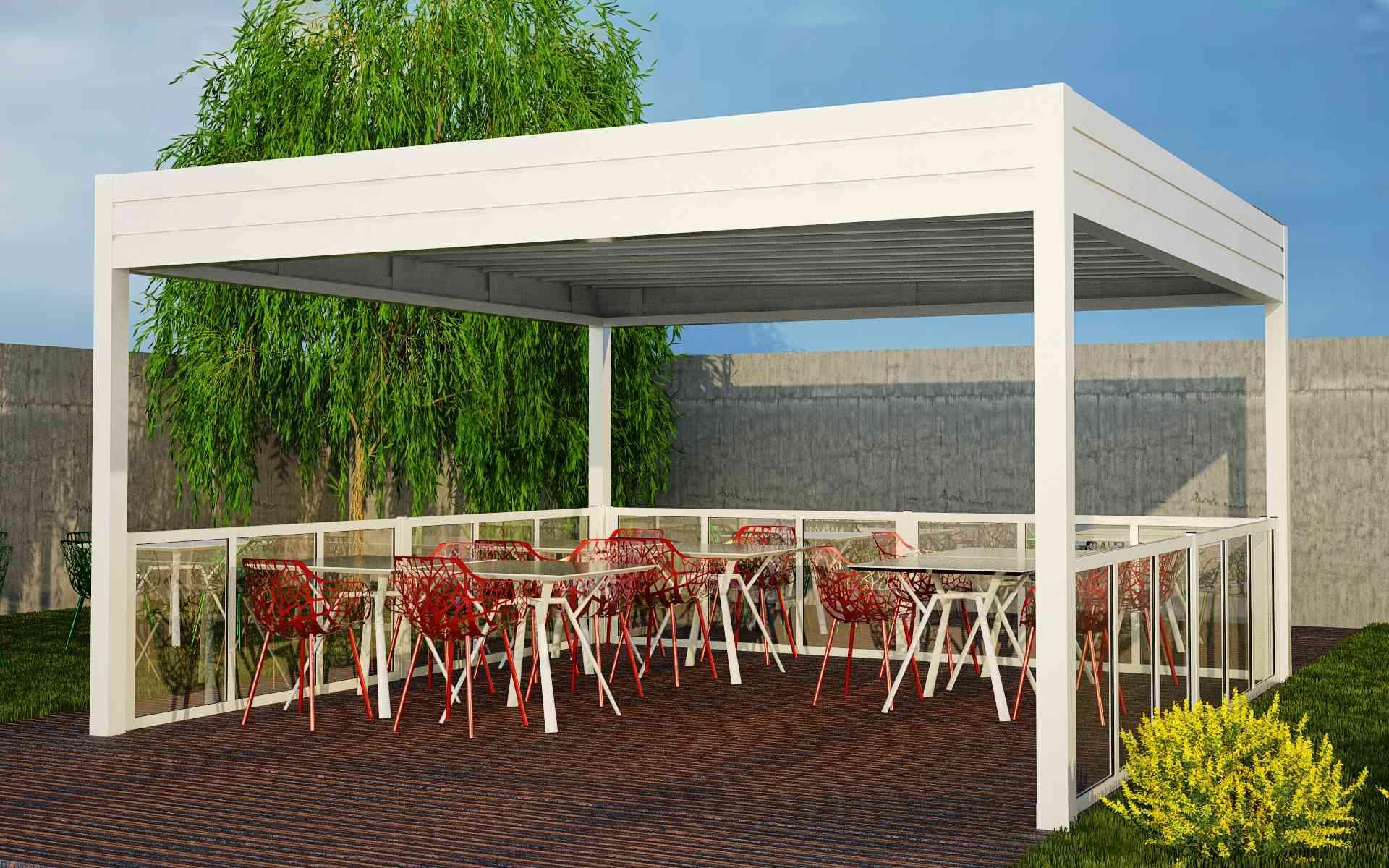 Paravento modulare per esterno in alluminio mod. GL PARAPETTO con pannello vetrato - Stameat srl - Produzione ed installazione - Belluno