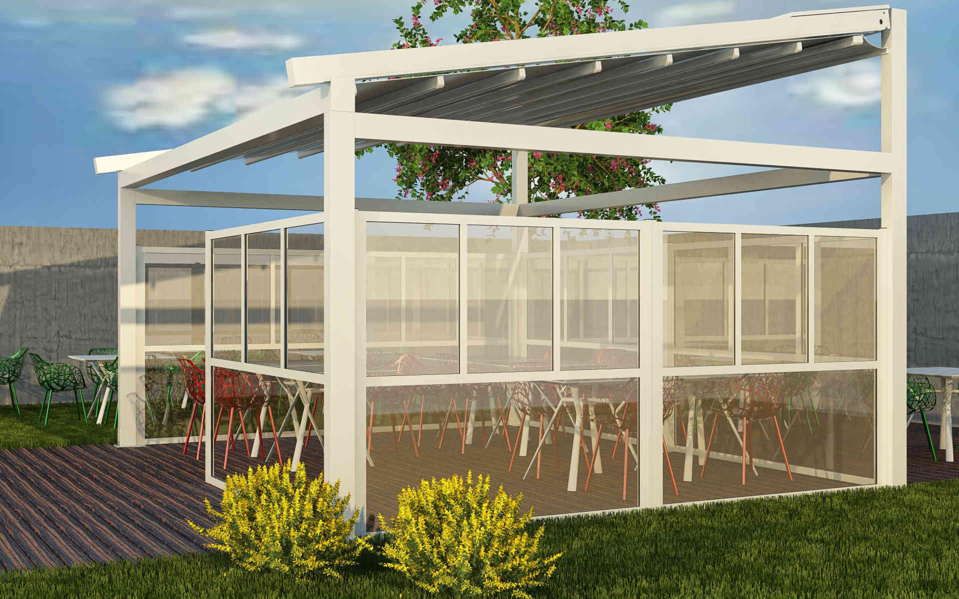 Paravento modulare per esterno in alluminio e vetro mod. GL Quadro con vetro sia superiormente che inferiormente - Stameat srl - Produzione ed installazione - Bologna