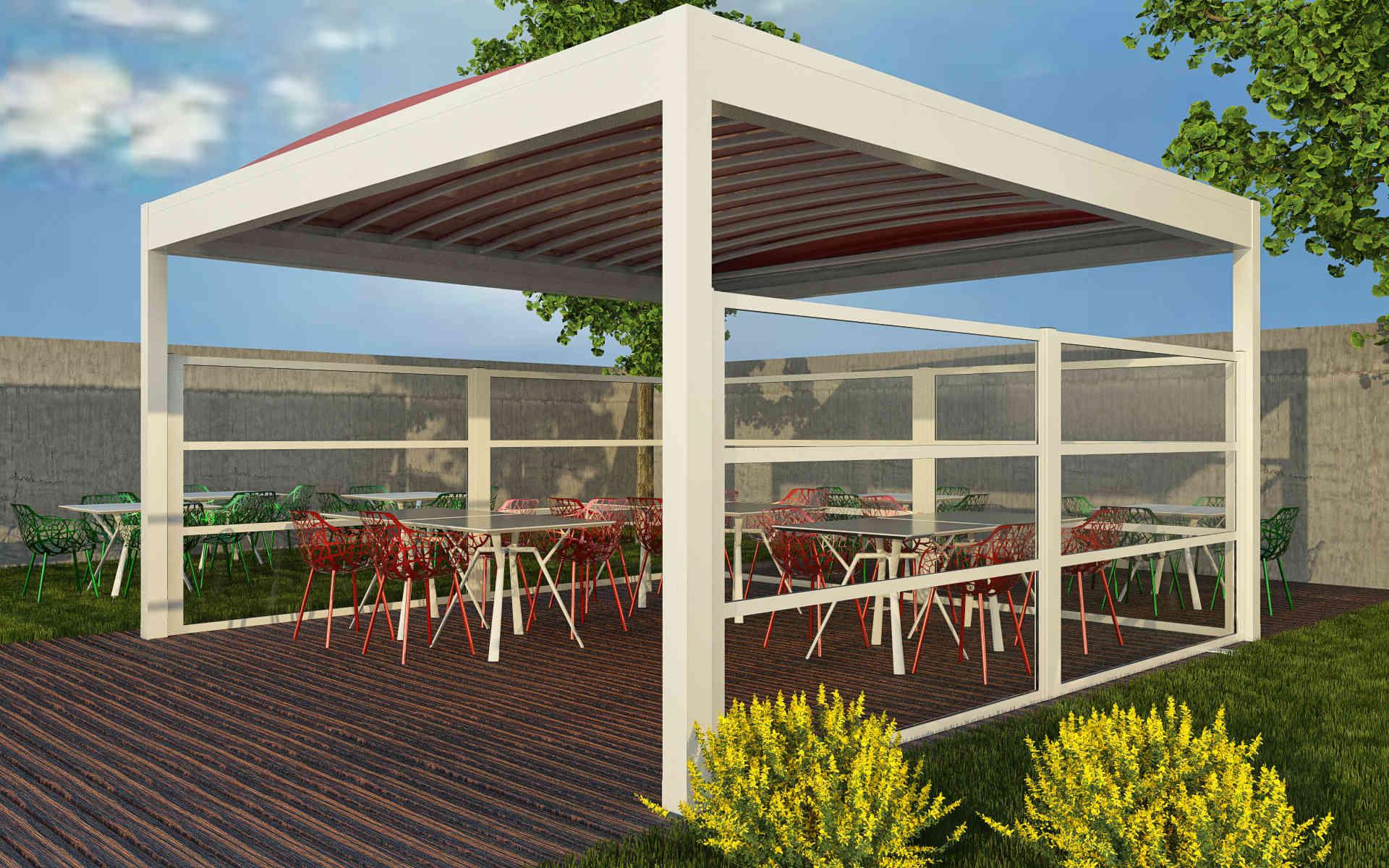 Paravento modulare per esterno per dehors e plateatici in alluminio mod. NEWTEC con pannello vetrato antiinfortunistico - Stameat srl - Produzione ed installazione - Verona