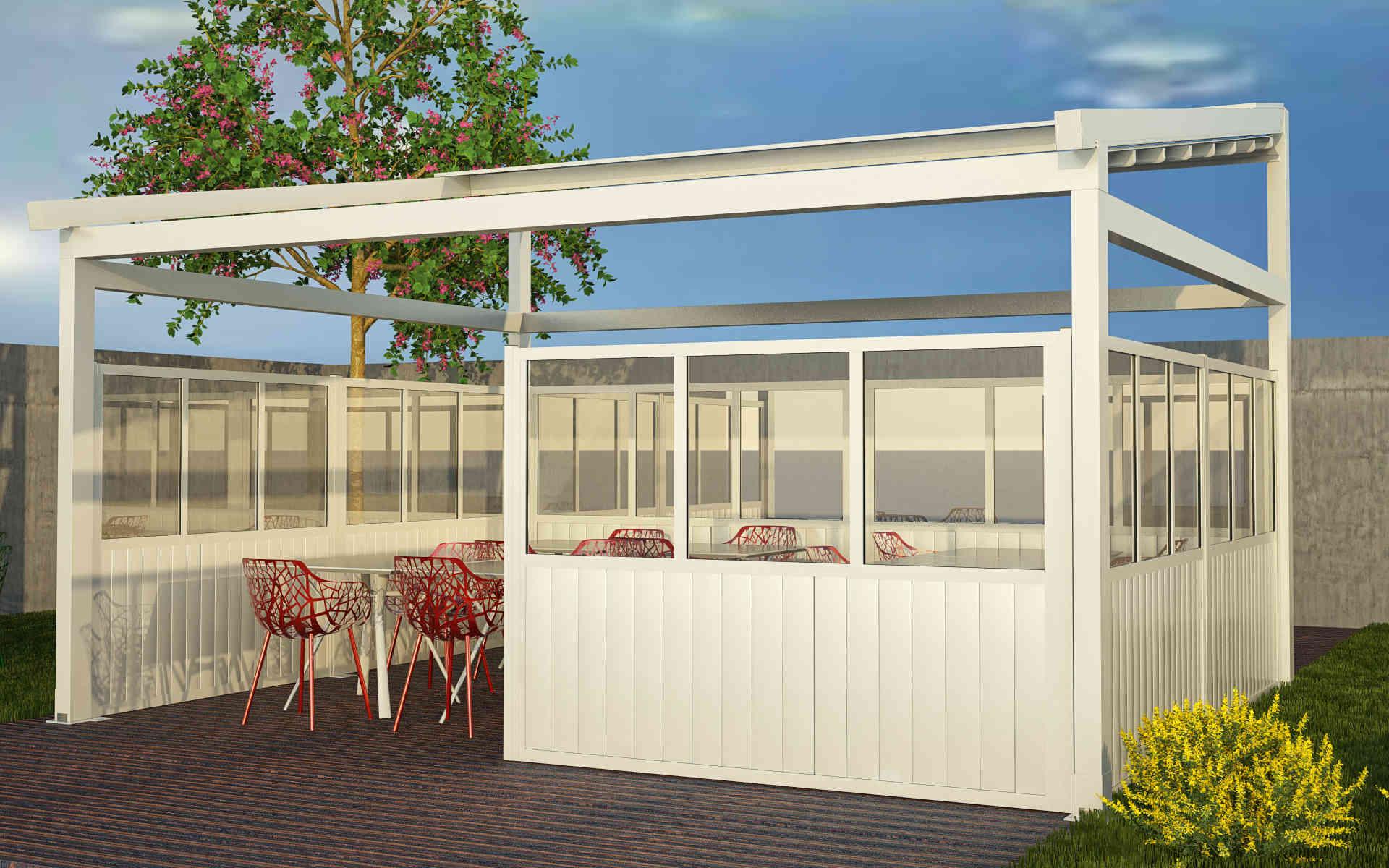 Paravento modulare per esterno in alluminio e vetro mod. Quadro Rustico con vetro e doghe in alluminio - Stameat srl - Produzione ed installazione - Trento