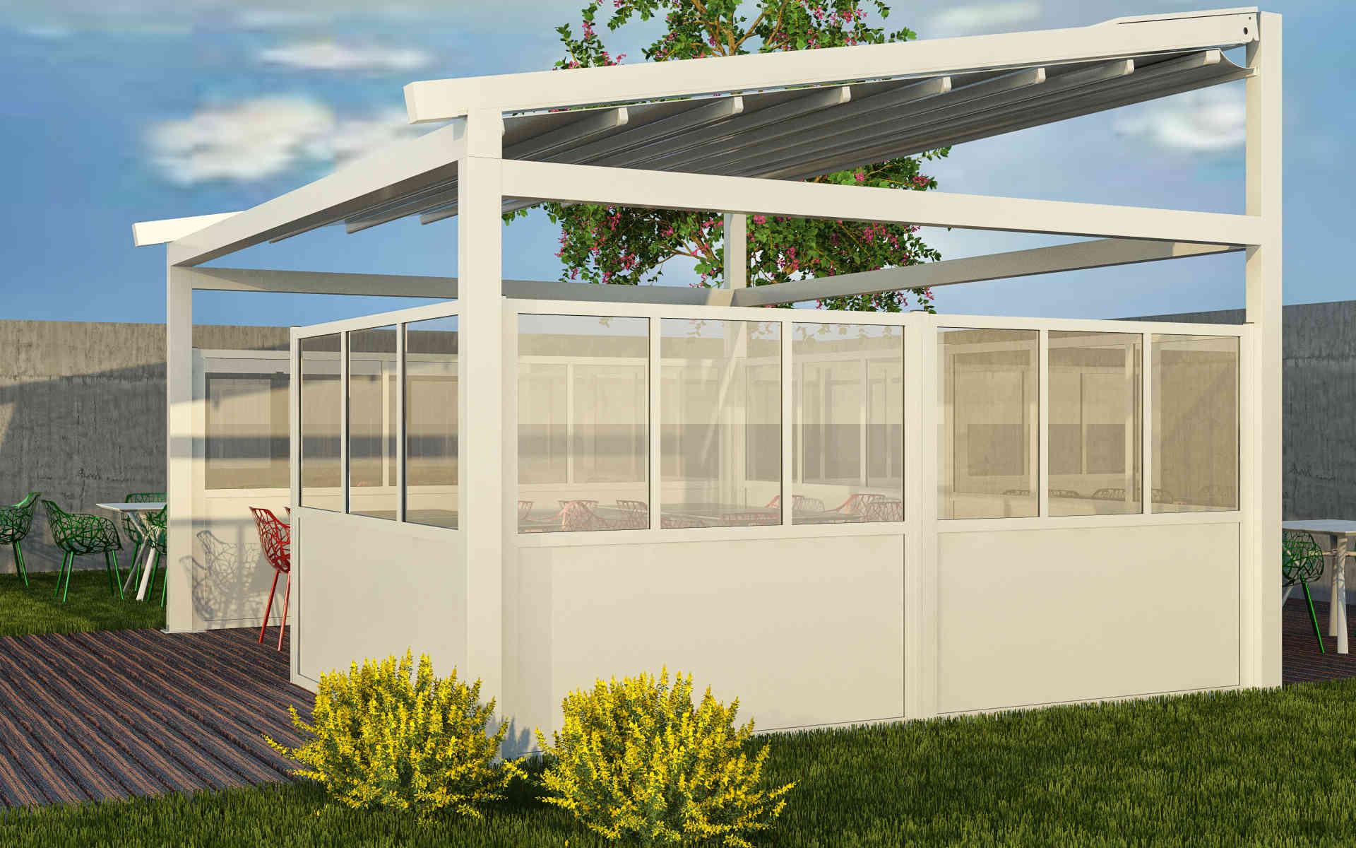 Paraventi modulari per esterno in alluminio. Chiusura di dehors e plateatici. Serie 2000. Stameat srl - Padova