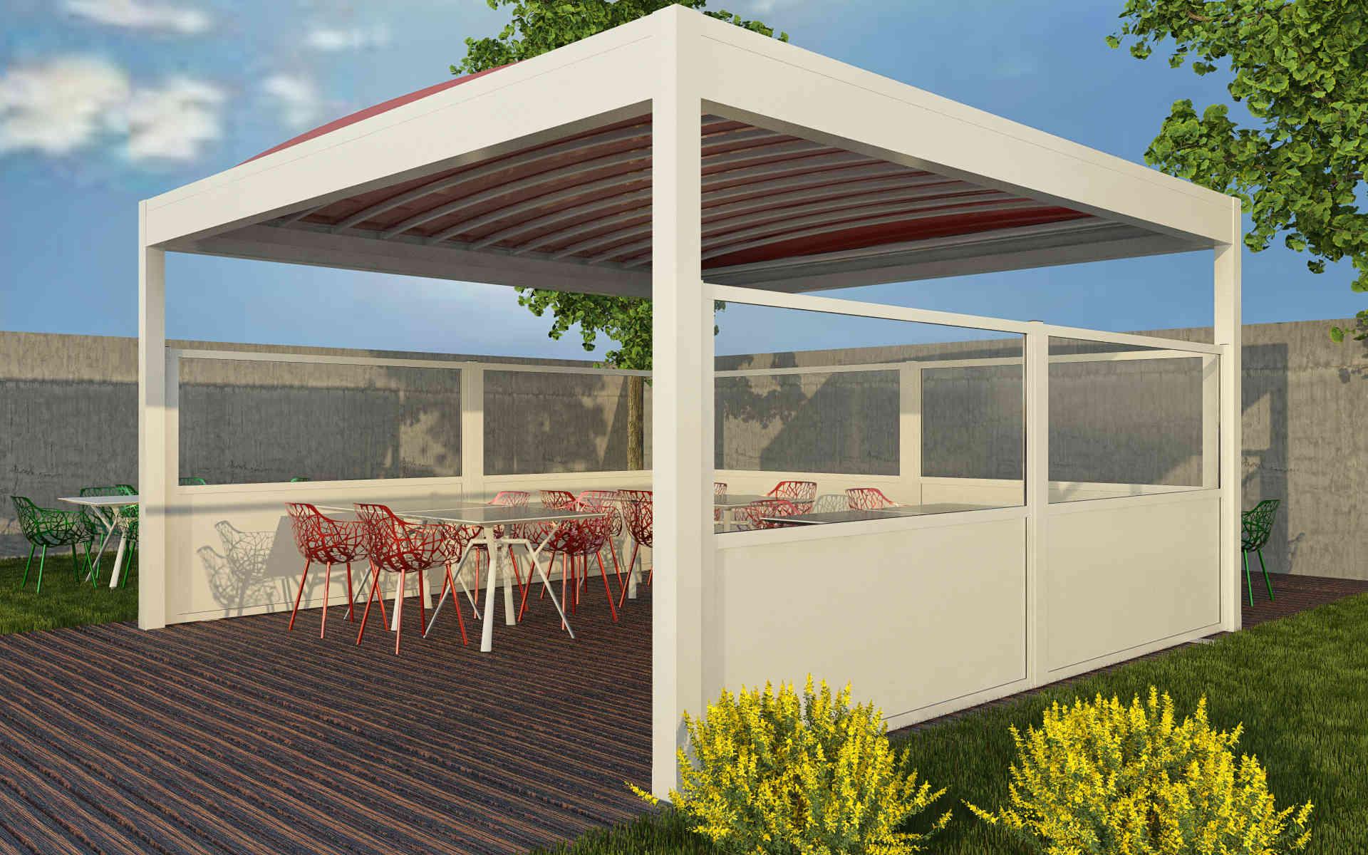 Paravento modulare per esterno per dehors e plateatici in alluminio mod. GL PARAPETTO - RUSTICO con doghe - Stameat srl - Produzione ed installazione - Asiago