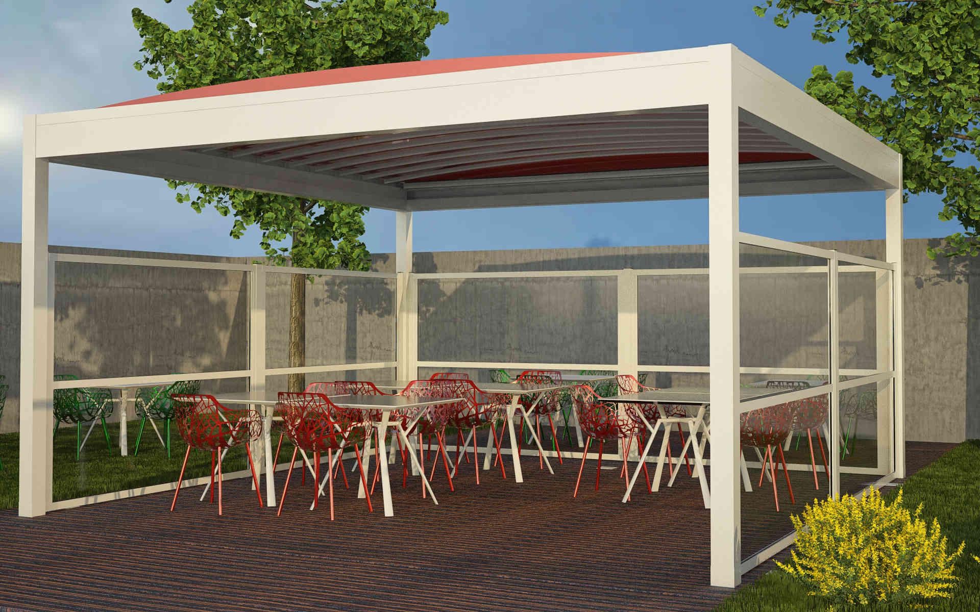 Paravento modulare per esterno in alluminio mod. NEWTEC VISION con pannello vetrato antiinfortunistico - Stameat srl - Produzione ed installazione - Bologna
