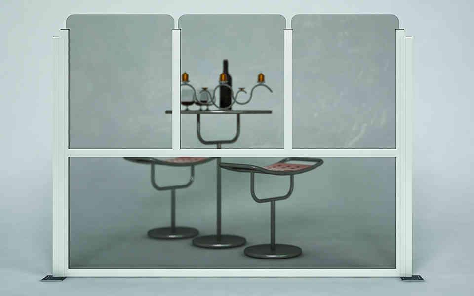 Paravento modulare per dehors e plateatici in alluminio e vetro mod. Classic con vetro spigoli arrotondati - Stameat srl - Produzione ed installazione - Vicenza