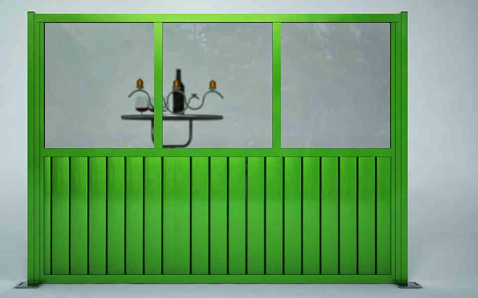 Paravento modulare per dehors e plateatici in alluminio e vetro mod. Quadro Rustico con vetro e doghe in alluminio - Stameat srl - Produzione ed installazione - Trento