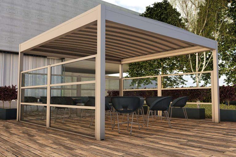 produzione-vendita-installazione-paraventi-modulari-alluminio-vetro-pannello-coibentato-dehors-plasteatici-Padova-Stameat-srl